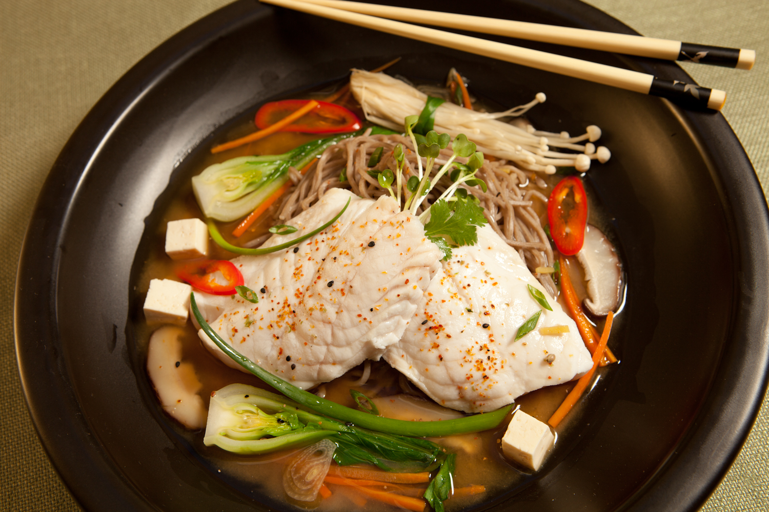 Scorpion Fish with Soba in Miso